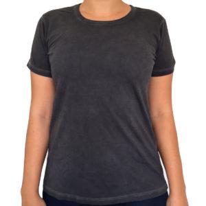 Camiseta Estonada Feminina Cinza Grafite